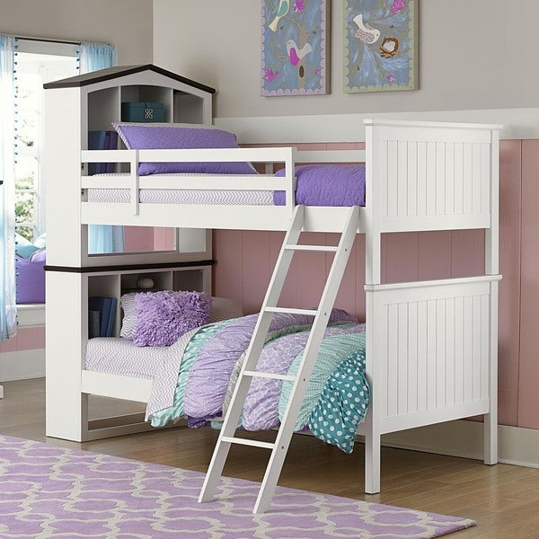 Natalia White Playhouse Bookcase Bunk Bed