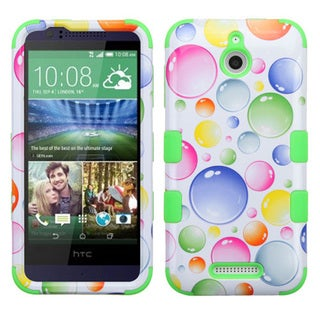 Insten Rainbow Bubbles Tuff Hard PC/ Silicone Dual Layer Hybrid Rubberized Matte Phone Case Cover For HTC Desire 510