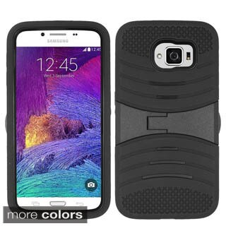 Insten Soft Silicone/ PC Dual Layer Hybrid Rubber Phone Case Cover with Stand For Samsung Galaxy S6