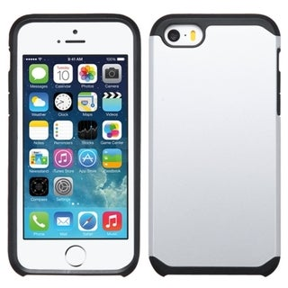 Insten Silver/ Black Hard PC/ Silicone Dual Layer Hybrid Rubberized Matte Phone Case Cover For Apple iPhone 5/5S