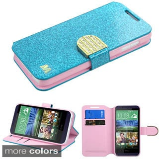 Insten Purple/ Gold Leather Glitter Phone Case Cover with Stand/ Wallet Flap Pouch/ Diamond For HTC Desire 510