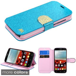Insten Leather Glitter Phone Case with Stand/ Wallet Flap Pouch/ Diamond for Alcatel One Touch Fierce 2 7040T