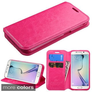 Insten Hot Pink Leather Phone Case Cover with Stand/Wallet Flap Pouch For Samsung Galaxy S6 Edge