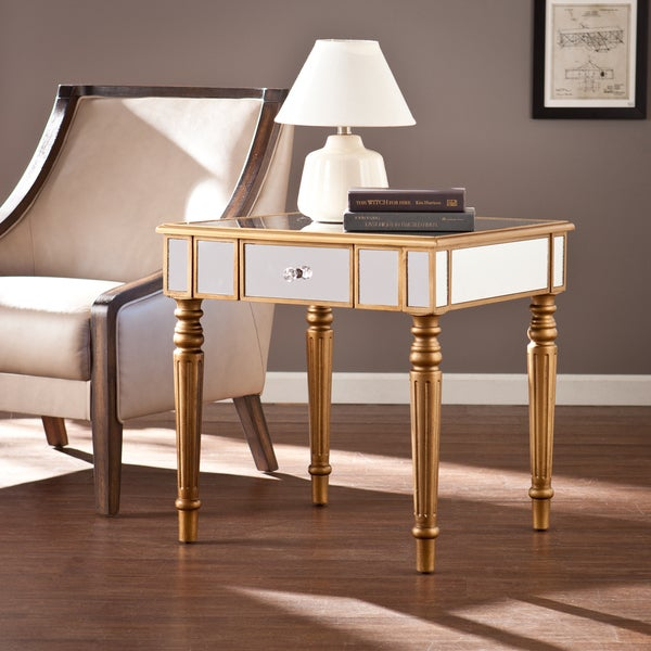 Champagne Mirrored Coffee Table: Upton Home Champagne Gold Fontaine Mirrored Side/ End