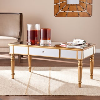 Upton Home Champagne Gold Fontaine Mirrored Cocktail/ Coffee Table