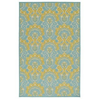 Indoor/Outdoor Luka Gold Damask Rug (3'10 x 5'8)