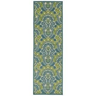 Indoor/Outdoor Luka Blue Damask Rug (2'6 x 7'10)