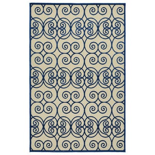 Indoor/Outdoor Luka Navy Scroll Rug (8'8 x 12'0)