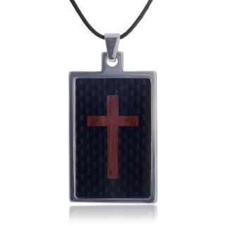 Vance Co. Tungsten Cross Inlay Dog Tag Pendant