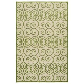 Indoor/Outdoor Luka Green Scroll Rug (8'8 x 12'0)