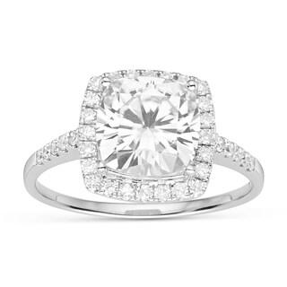 Charles & Colvard 14k White Gold 3.14 TGW Cushion Forever Brilliant Moissanite Solitaire Fashion Ring