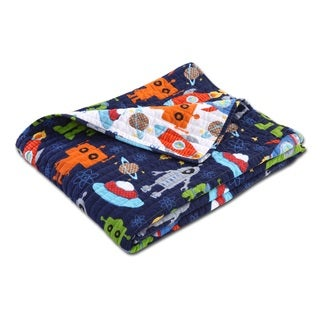 Greenland Home Fashions Robots in Space Reversible Quilted Cotton Throw