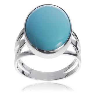 Journee Collection Sterling Silver Oval Turquiose Stone Handmade Ring