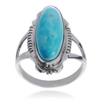 Journee Collection Sterling Silver Handmade Turquiose Stone Split Band Ring