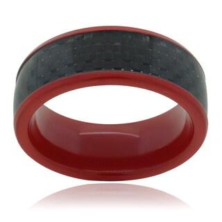 Vance Co. Men's Pipe-cut Carbon Fiber Inlay Titanium Ring (8mm)
