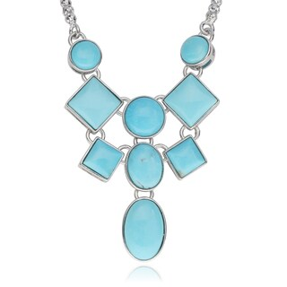 Journee Collection Sterling Silver Turquoise Stones Handmade Pendant