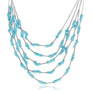 Journee Collection Sterling Silver Turquoise Stones Multi-chain Necklace