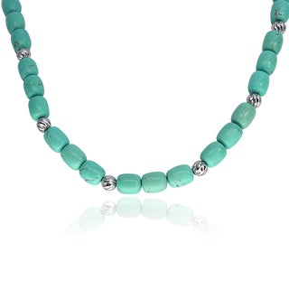 Journee Collection Sterling Silver Turquoise Bead Necklace