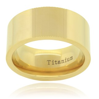 Vance Co. Titanium Men's Yellow Gold Pipe-Cut Ring (10mm)
