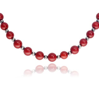 Journee Collection Sterling Silver Sponge Coral Beaded Handmade Necklace