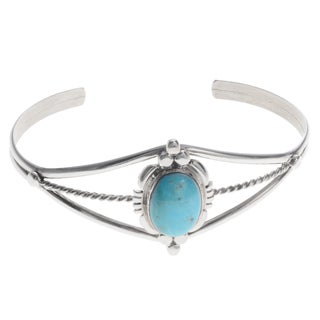 Journee Collection Sterling Silver Turquoise Adjustable Handmade Cuff