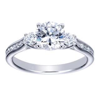 14k White Gold 1/4ct TDW Diamond and Cubic Zirconia Vintage Halo Engagement Ring (H-I, I1-I2)