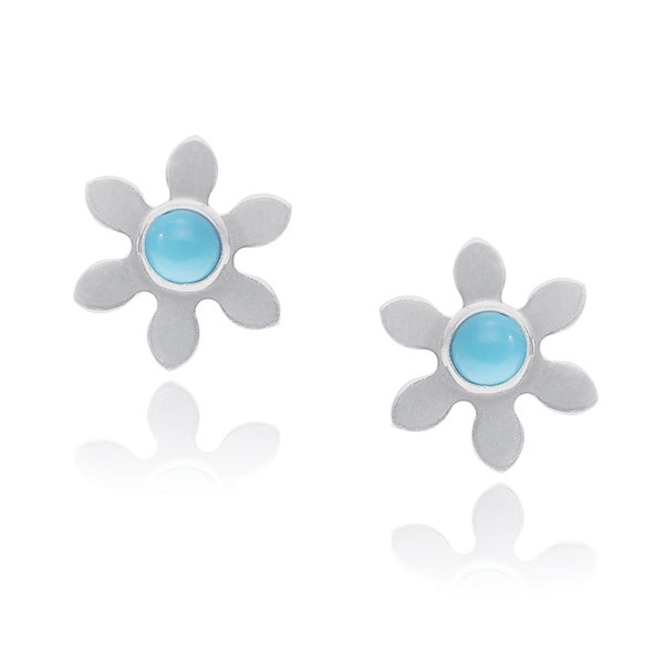 Journee Collection Sterling Silver Turquoise Stone Flower Handmade Stud Earrings