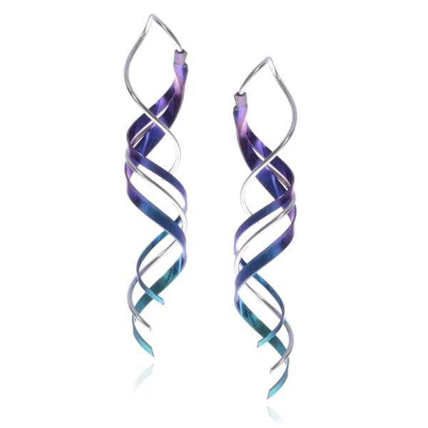 Journee Collection Sterling Silver Handmade Spiral Earrings