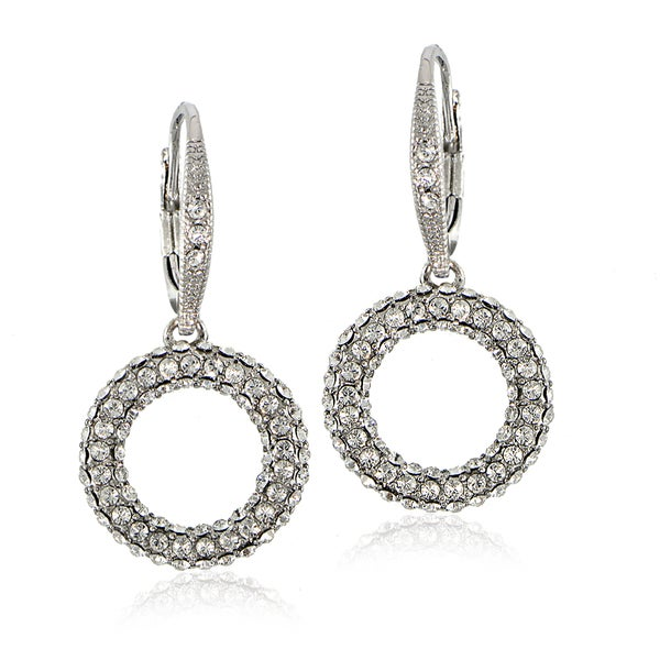 Crystal Ice Silvertone Swarovski Elements Open Circle Leverback Earrings