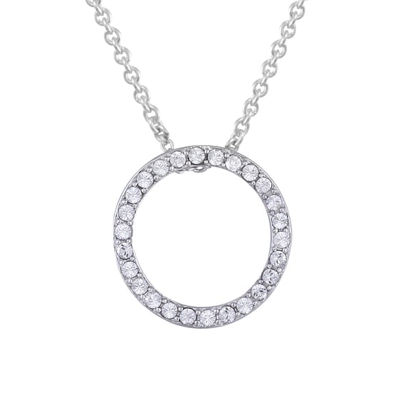 Crystal Ice Silvertone Swarovski Elements Open Circle Necklace
