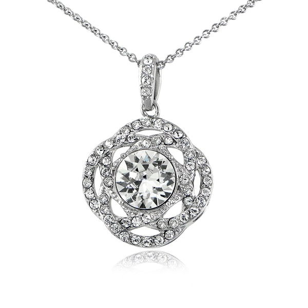 Crystal Ice Silverstone Swarovski Elements Interlocking Circle Necklace