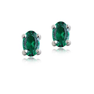 Glitzy Rocks Sterling Silver Created Green Quartz Oval Stud Earrings