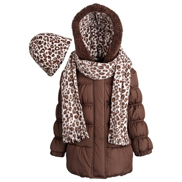Pink Platinum Little Girls Hooded Winter Puffer Coat, Fleece Hat and Scarf Set
