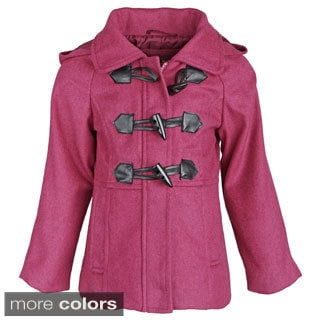 Pink Platinum Little Girls Tweed Twill Hooded Peacoat
