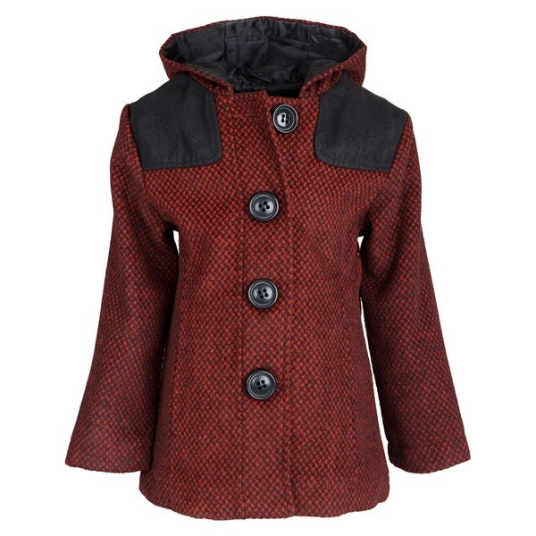 Pink Platinum Little Girls Twill Hooded Peacoat