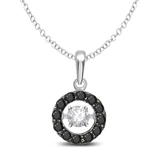 Unending Love 10k White Gold 1/3ct TDW Black Diamond 'Glittering Stars' Circle Pendant