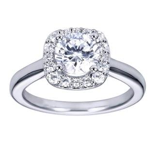Platnium Cubic Zirconia 1/4ct TDW Diamond Cathedral Halo Engagement Ring (H-I, I1-I2)
