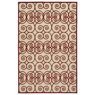 Indoor/Outdoor Luka Red Scroll Rug (5'0 x 7'6)
