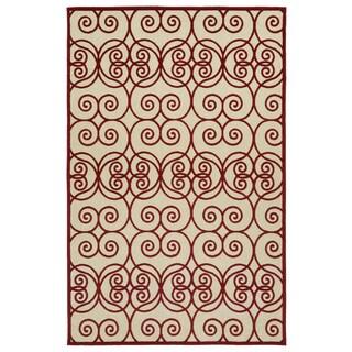 Indoor/Outdoor Luka Red Scroll Rug (8'8 x 12'0)