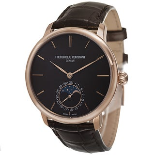 Frederique Constant Men's FC-705C4S9 'Slim Line' Brown Dial Brown Leather Strap Automatic Watch