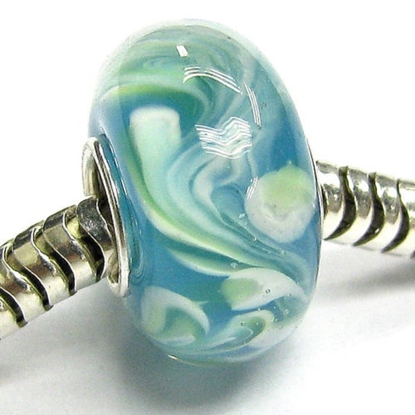 Queenberry Sterling Silver Murano Green Lampwork Glass European Bead Charm