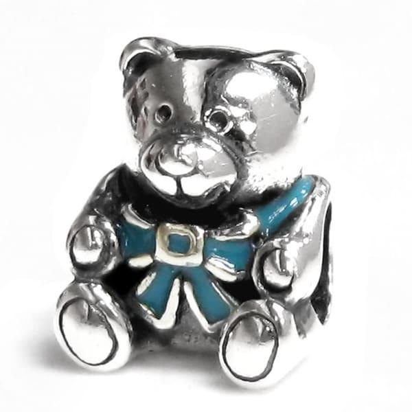 Queenberry Sterling Silver Blue Enamel Teddy Bear Doll Screw-on European Bead Charm