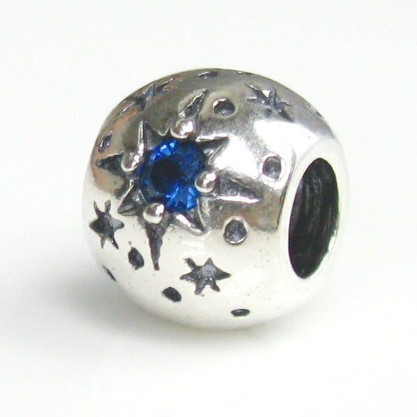 Queenberry Sterling Silver 'Dreams Really Come True' Sapphire Blue Crystal Wishing Star European Bead Charm