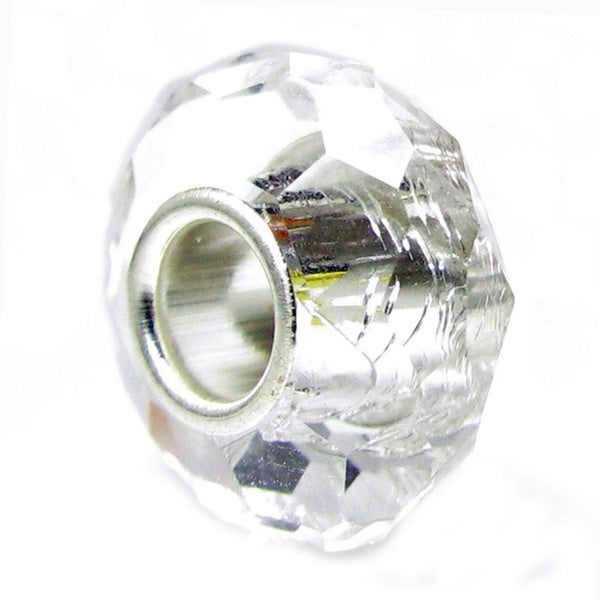 Queenberry Sterling Silver April Birthstone Clear Crystal European Bead Charm