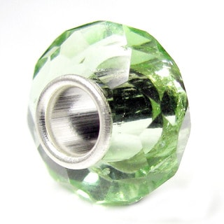 Queenberry Sterling Silver August Birthstone Peridot Green Crystal European Bead Charm