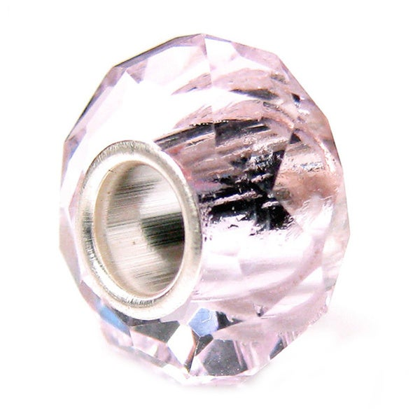 Queenberry Sterling Silver October Birthstone Rose Pink Crystal European Bead Charm
