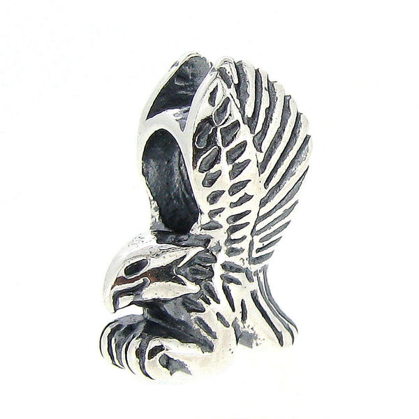 Queenberry Sterling Silver Flying Soaring Eagle Bird European Bead Charm