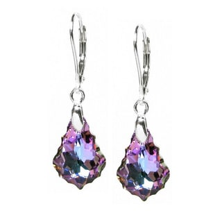 Queenberry Sterling Silver Baroque Shaped Vitrial Light Purple Crystal Leverback Dangle Earrings