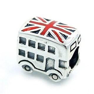 Queenberry Sterling Silver London Double Decker Bus United Kingdom Britain Flag Enamel European Bead Charm