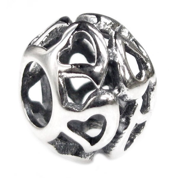 Queenberry Sterling Silver Infinity Heart Filigree European Bead Charm